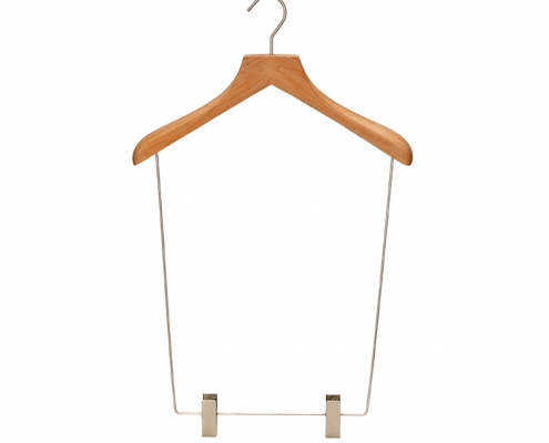 Luxury wooden swim wear suits hanger with face clips (1)