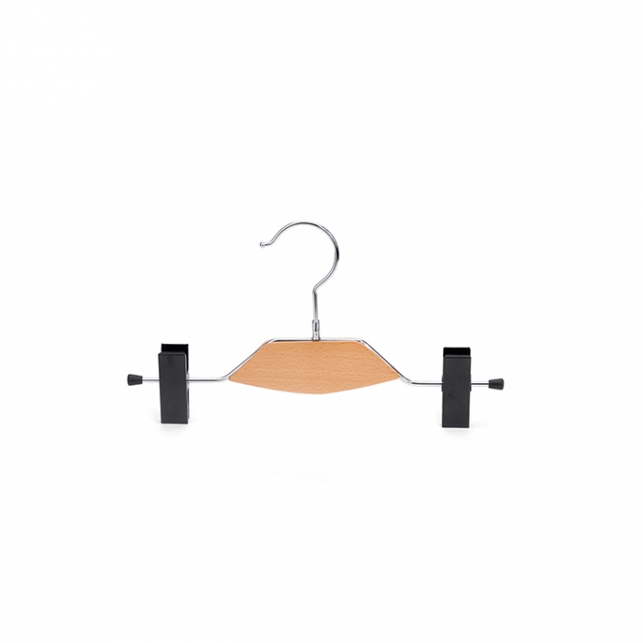 Metal Lingerie Hanger with clips and wooden plate for underpants (1)